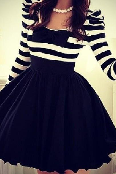 Long-Sleeve Striped Chiffon Bow Dress CX109EA