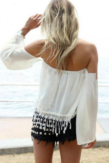 White Off-The-Shoulder Long Sleeve Top Featuring Lace Hem and Tassel Detailing