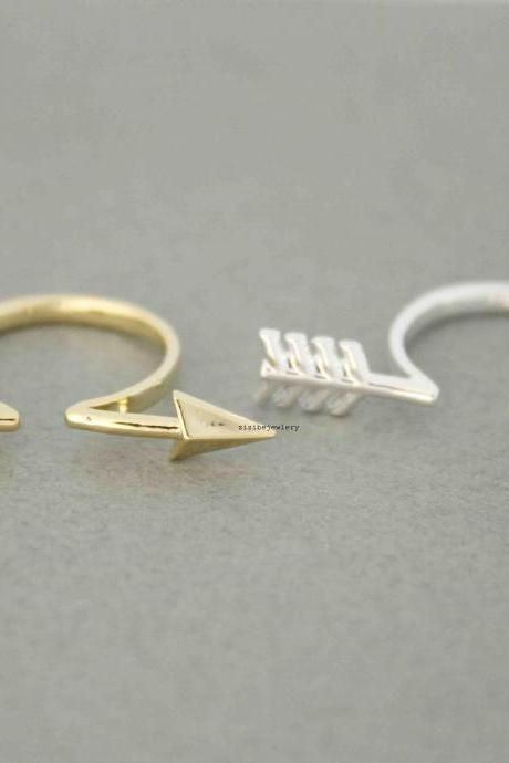 Open Piercing Arrow Ring in 2 colors- Adjustable Ring, R0495G