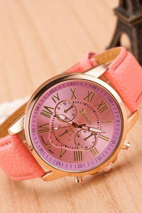 pink watch, leather watch, bracelet watch, vintage watch, retro watch, woman watch, lady watch, girl watch, unisex watch, AP00036