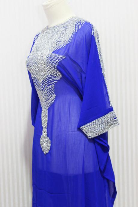 Petite Sheer Chiffon Wedding Maxi Dress Blue Caftan Kaftan Swarovski Dress Dubai Gold Embroidery