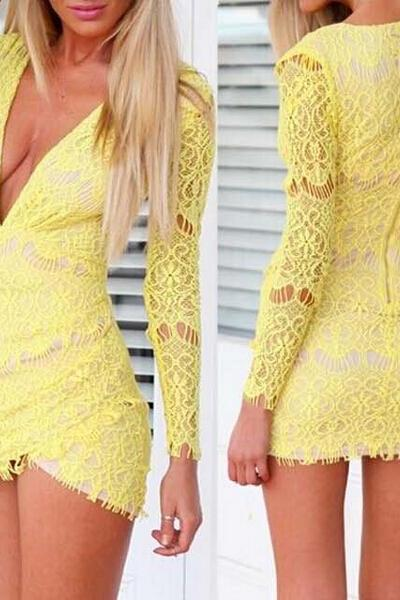 Long-Sleeved V-Neck Lace Dress