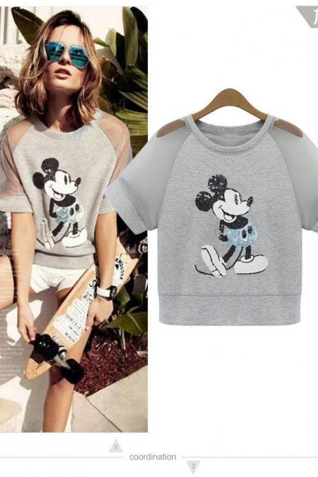 2015 NEW Woman Sequins Gauze Short sleeved T-shirt shirt Mouse Embroidery S-XL