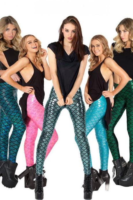 Women Stretchy snakeskin Fish scale mermaid Printing Jeggings seamless Leggings