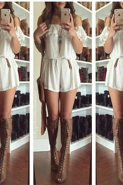 Jumpsuit lace sexy one word romper