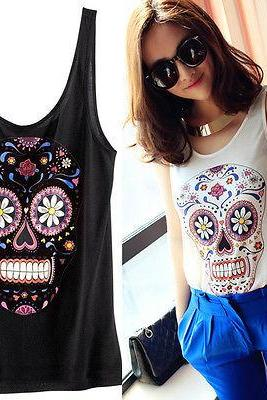XS-XXL New Womens Cool Color skeleton Skull Heads Top Vest Sleeveless T-Shirt