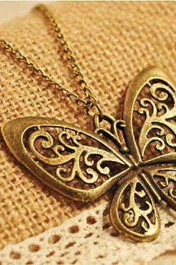 Women's Vintage Bronze Butterfly Animal Dress Long Chain Necklace Pendant Charms