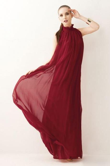 Red Chiffon Maxi Dress With Bow Belt