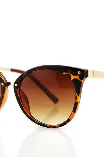 Leopard Print Framed Cat-Eye Sunglasses featuring Brown Coloured Lens