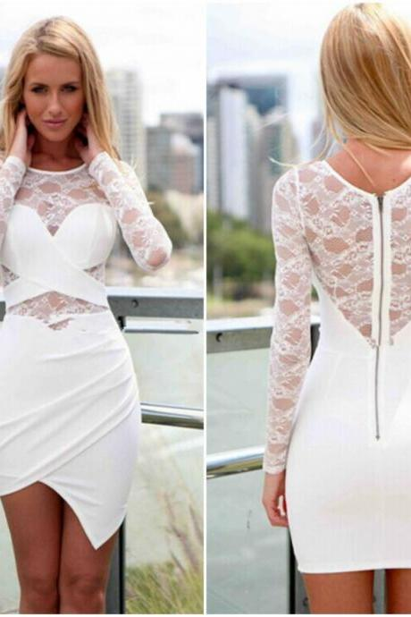 Chic Asymmetrical Hem White Long Sleeve Lace Dress