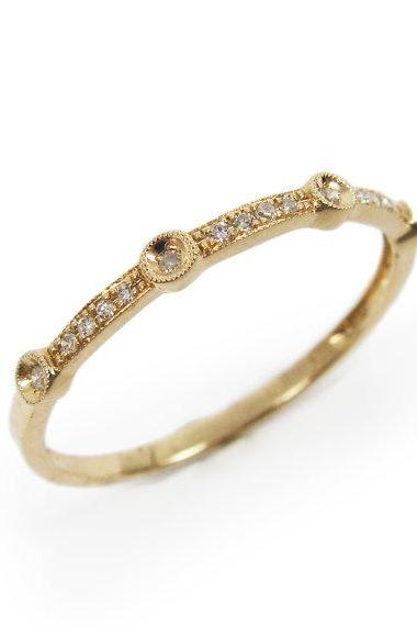 Unique design- Diamond yellow gold ring (r24567). birthday gift, anniversary gift for her, romantic