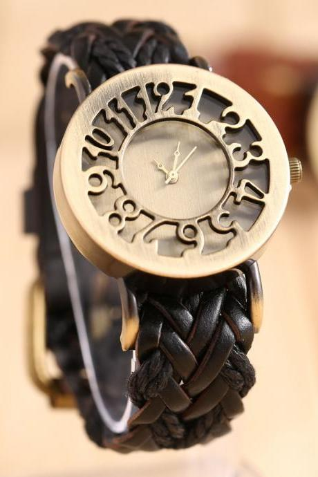 hollow watch, leather watch, bracelet watch, vintage watch, retro watch, woman watch, lady watch, girl watch, unisex watch, AP00042