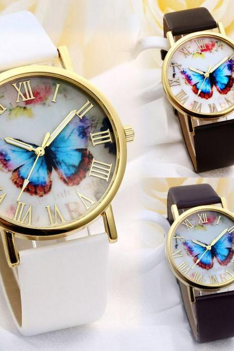 butterfly watch, leather watch, bracelet watch, vintage watch, retro watch, woman watch, lady watch, girl watch, unisex watch, AP00047