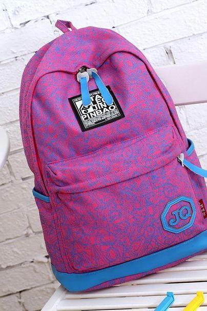 Letters Print Sport purple Canvas Girl Backpack