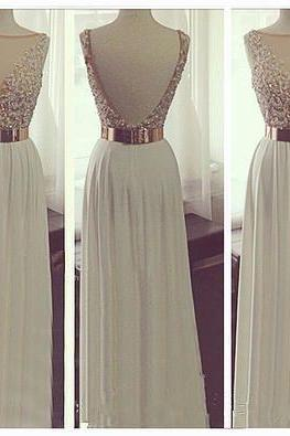 New Arrival White Chiffon Open Back Long Prom Dresses See Through Beadings Sheath Full Length Evening Prom Dress Handmade Backless Sexy Prom Gown Graduation Dress Beach Wedding Dress PD015