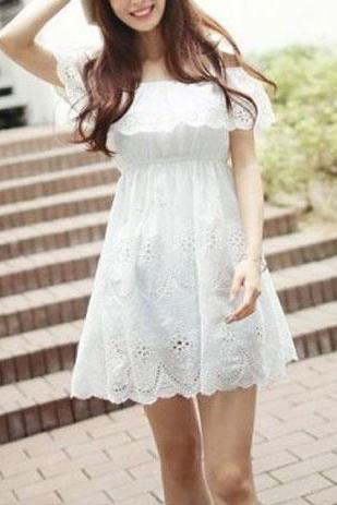 White Off Shoulder Bowknot Stretchy Eyelet Flower Strapless Dress