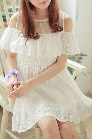 Eyelet Stretch Falbala Off Shoulder White Lace Dress