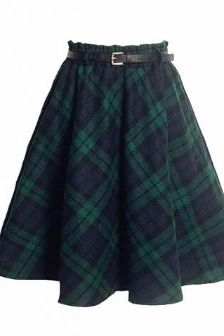 Best qulaity School Girl Tartan Woolen Skirt