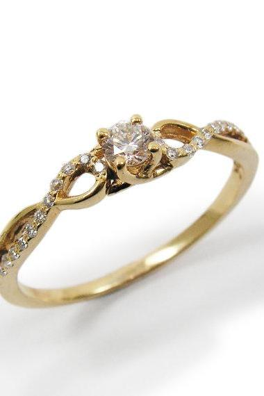 Engagement Ring- Yellow gold & Diamonds (r-13124x). romantic gift