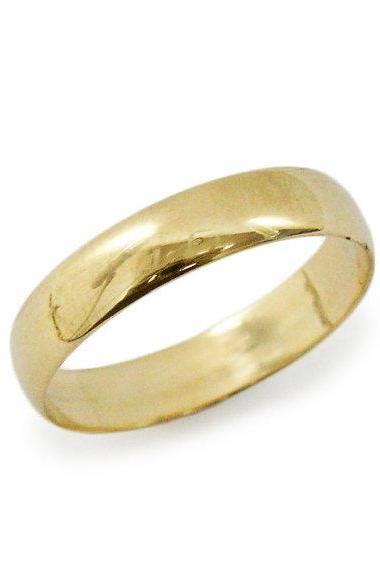 Classic rounded yellow gold wedding band. 14k yellow gold unisex medium width ring (gr-9377-1496). men women wedding ring, hes and hers ring