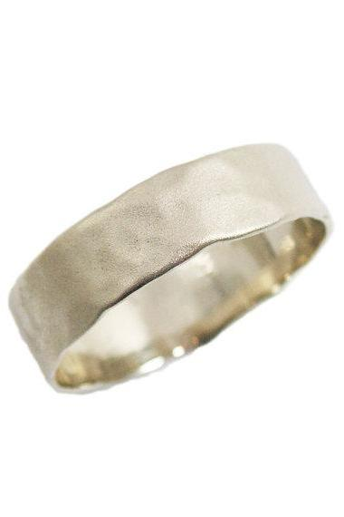 Matte gold wedding ring. Wedding band. 14K Hammered white gold wedding band. Men wedding band. Unisex wedding ring. (gr-9303)