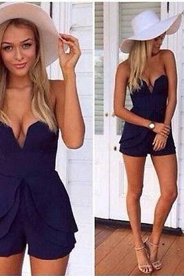 New Womens Ladies V Neck Sleeveless Causal Jumpsuit Romper Trouser Clubwear &&&