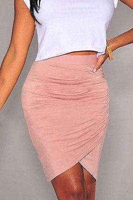 Women Sexy Pink wrapped elastic waist lady Club Evening Skirt Petticoat Dresses