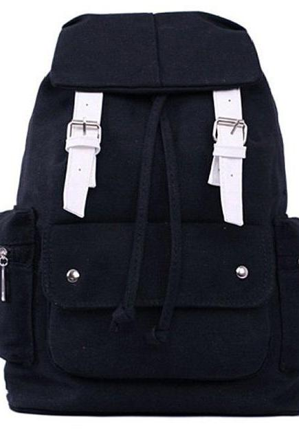 Casual Black Canvas School and Travel Backpack