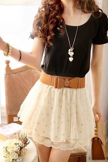 Lady Beige Celebrity Style Chiffon High Waist Polka Dot Lace Pompon Mini Skirt