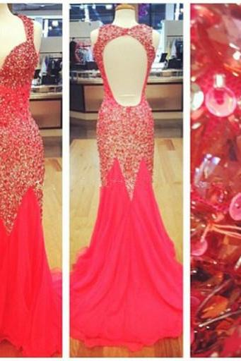Heavy Beadings Red Mermaid Open Back Long Prom Dress Off The Shoulder V Neck Prom Dresses Custom Made Trumpet Evening Dress Backless Evening Prom Gown Graduation Dress