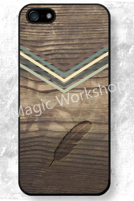 iPhone 4 4S 5 5S 5C 6 6 Plus case, iPhone 4 4S 5 5S 5C 6 6 Plus cover, Burned Feather on Wood Texture