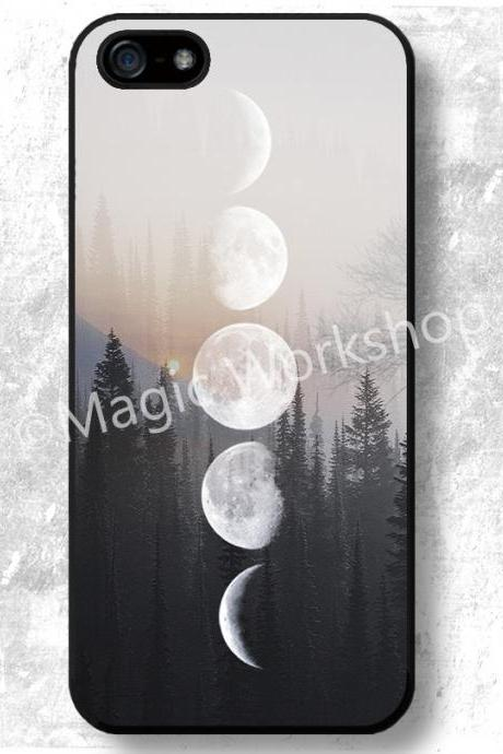 iPhone 4 4S 5 5S 5C 6 6 Plus case, iPhone 4 4S 5 5S 5C 6 6 Plus cover, Moon Phases on Forest Image