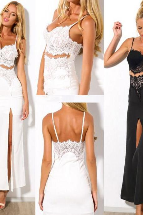 Women Summer Long Lace Sexy V-neck Party Dress Ladies Maxi Skirt Beach Dresses