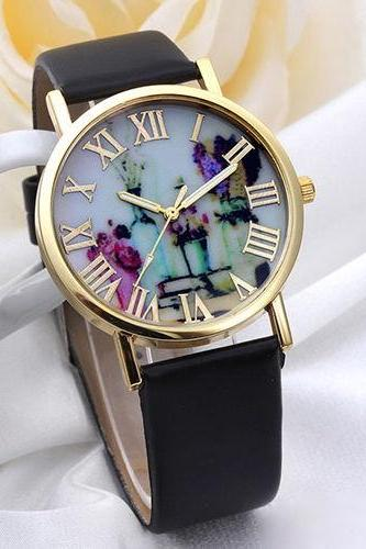 flower watch, flower leather watch, floral watch, leather watch, bracelet watch, vintage watch, retro watch, woman watch, lady watch, girl watch, unisex watch, AP00071