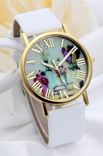 flower watch, flower leather watch, floral watch, leather watch, bracelet watch, vintage watch, retro watch, woman watch, lady watch, girl watch, unisex watch, AP00072