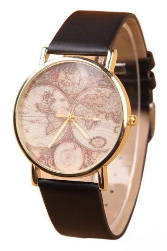 map watch, map leather watch, leather watch, bracelet watch, vintage watch, retro watch, woman watch, lady watch, girl watch, unisex watch, AP00075
