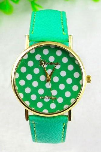 dot watch, mint polka dot leather watch, leather watch, bracelet watch, vintage watch, retro watch, woman watch, lady watch, girl watch, unisex watch, AP00085