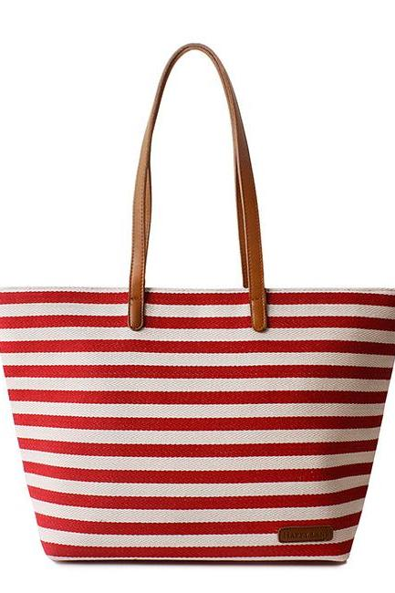 Retro Leisure Navy Style Strip Print Canvas Handbag - Red
