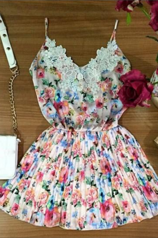 Fashion printing V-neck lace dress VC40220MN