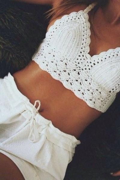 Crochet crochet halter backless bra