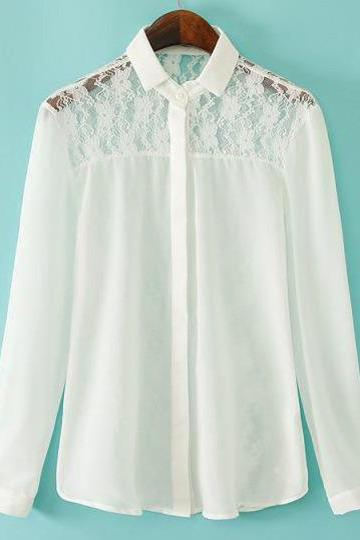 White Lapel Lace Insert With Buttons Blouse