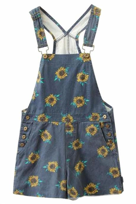 Fabulous Sunflower Print Blue Denim Rompers