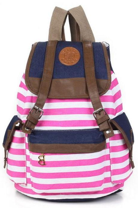 Canvas Horizontal pink Stripes School Student Girl Backpack