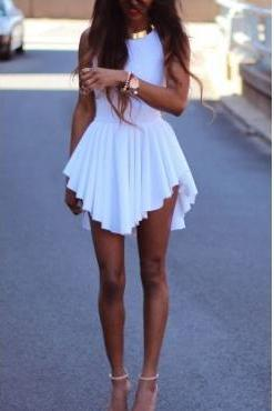Sexy O Neck Tank Asymmetrical White Spandex Mini Dress