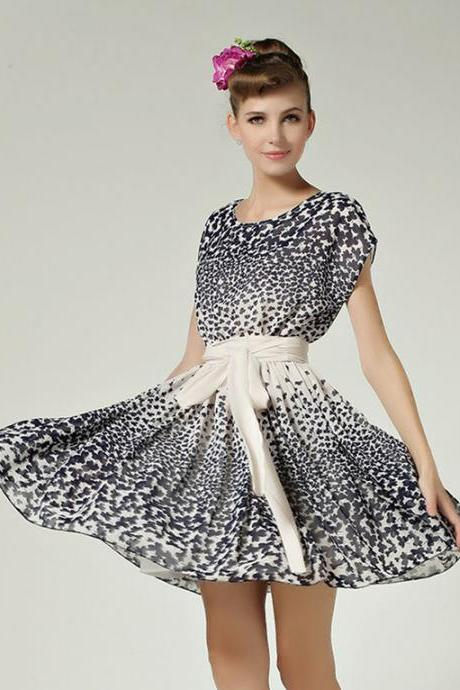 Flowers Printing Loosen Chiffon Dress