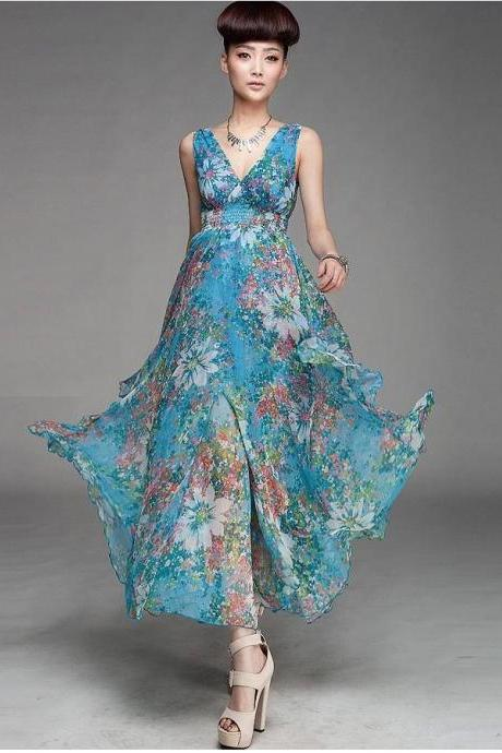 Blue V-Neck Floral Chiffon Ankle-Length Maxi Dress