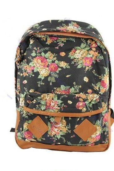 Flower Pattern Cotton Fashion black Girl Backpack