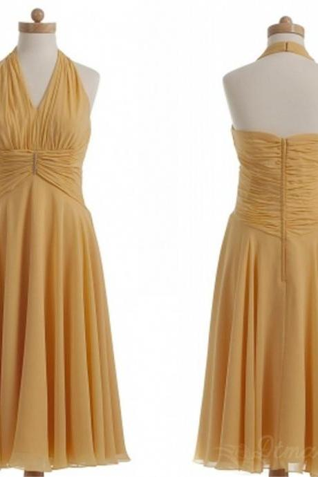 Backless Chiffon Bridesmaid Dress Short Prom Dress Evening Dresses Spd154