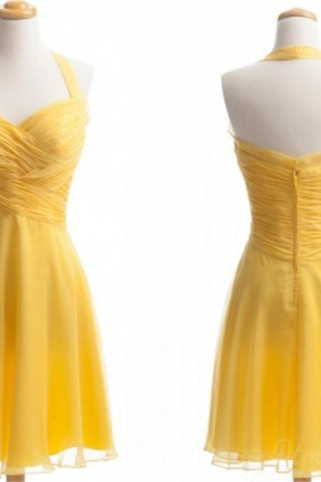 Yellow Hang A Neck Chiffon Bridesmaid Dress Short Prom Dress Party Dresses Spd170