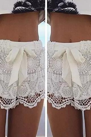 Aokdis Women Girl Lace Hem Crochet Chiffon Belt Summer Beach Shorts Pants